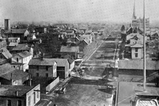 Birds Eye View of 6th Street looking East