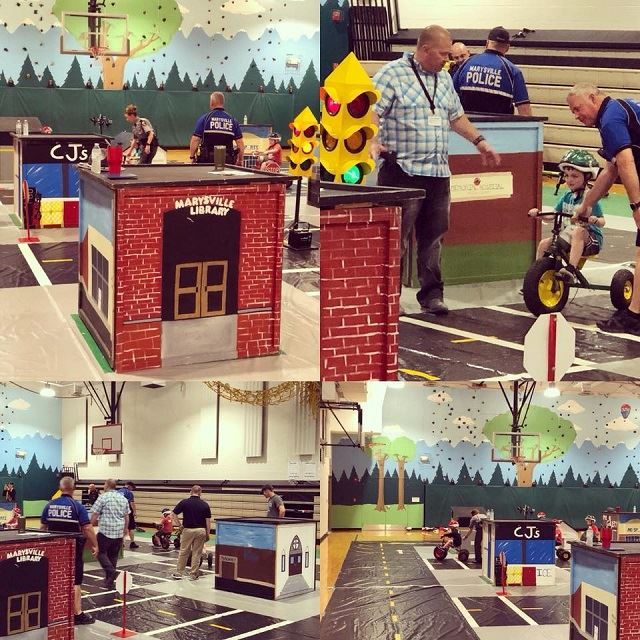 Images of CSB members helping kids through Safety Town