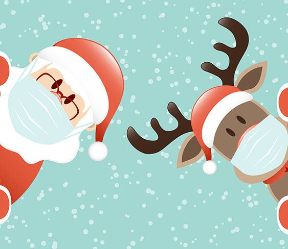 Image of Santa and a reindeer with masks over their faces